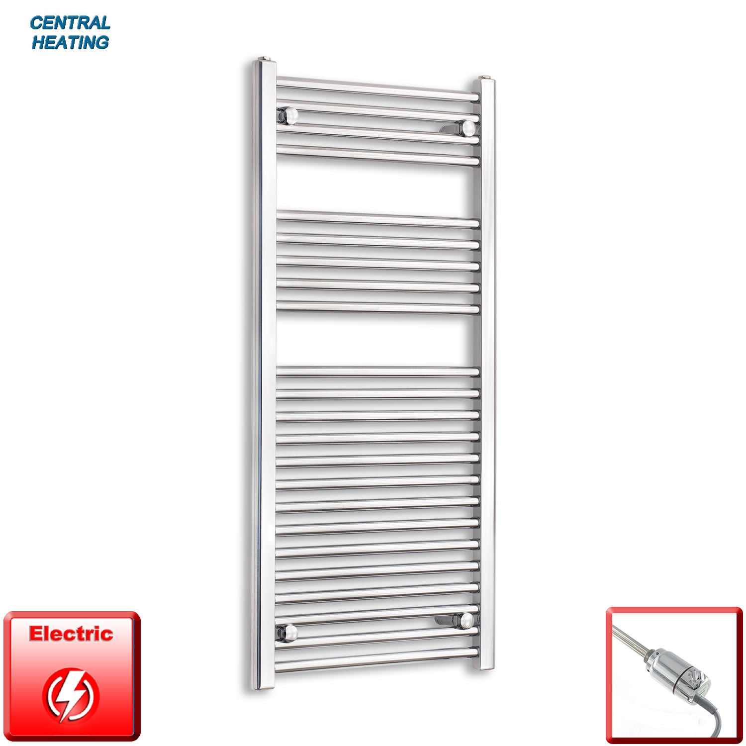 500mm Wide 1100mm High Pre-Filled Black Electric Towel Rail Radiator With Thermostatic GT Element