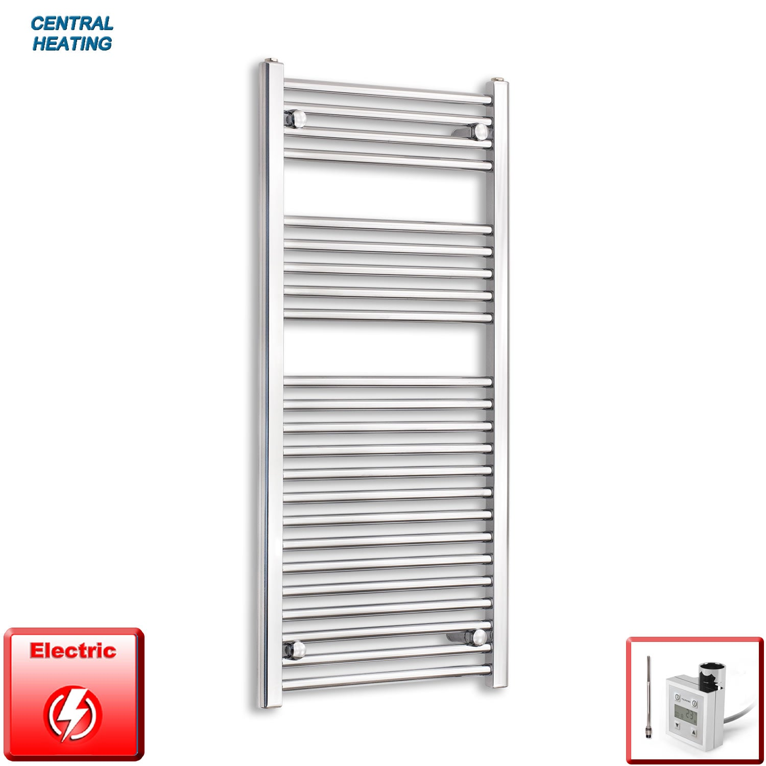 500mm Wide 1100mm High Pre-Filled Black Electric Towel Rail Radiator With Thermostatic KTX3 Element