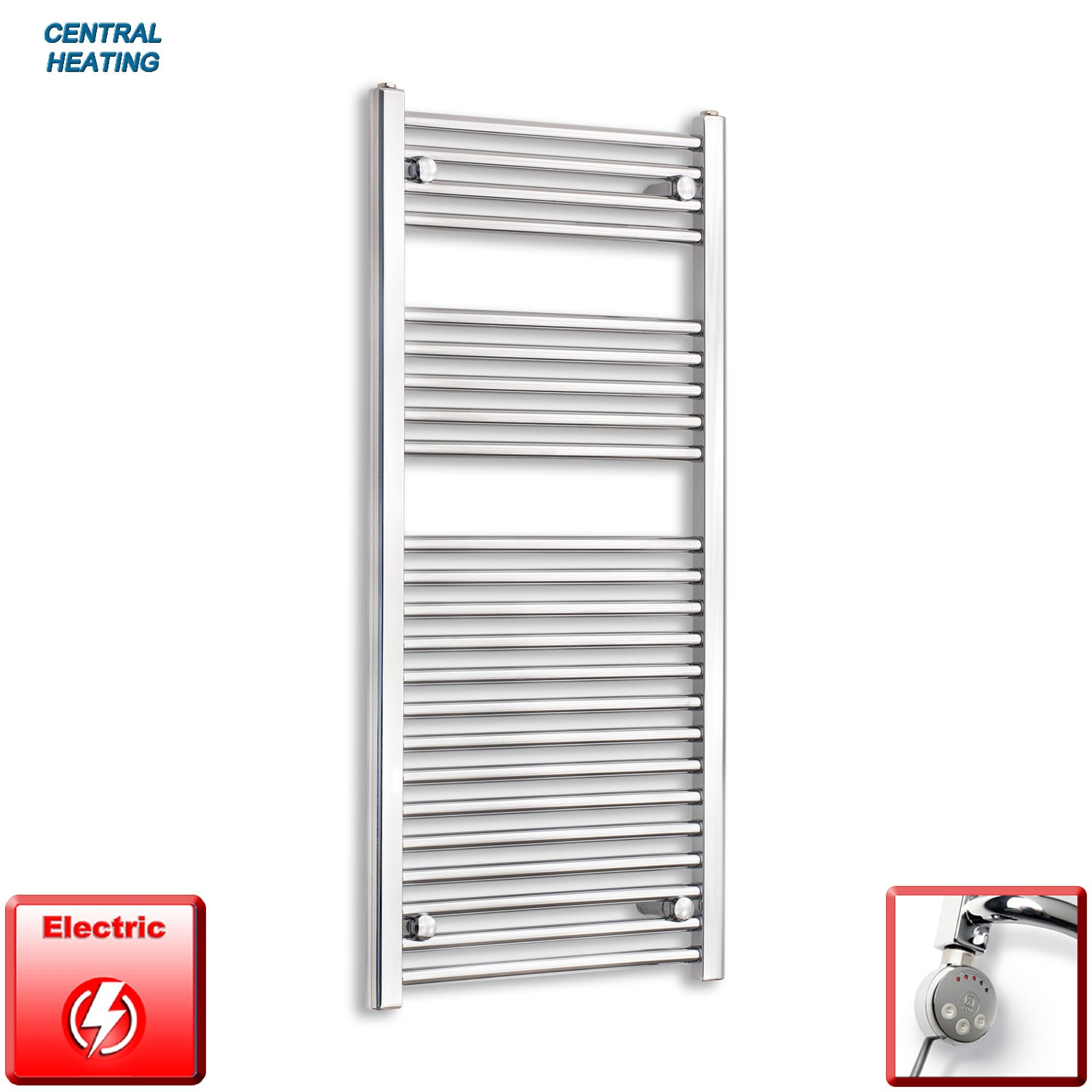 500mm Wide 1100mm High Pre-Filled Black Electric Towel Rail Radiator With Thermostatic MEG Element