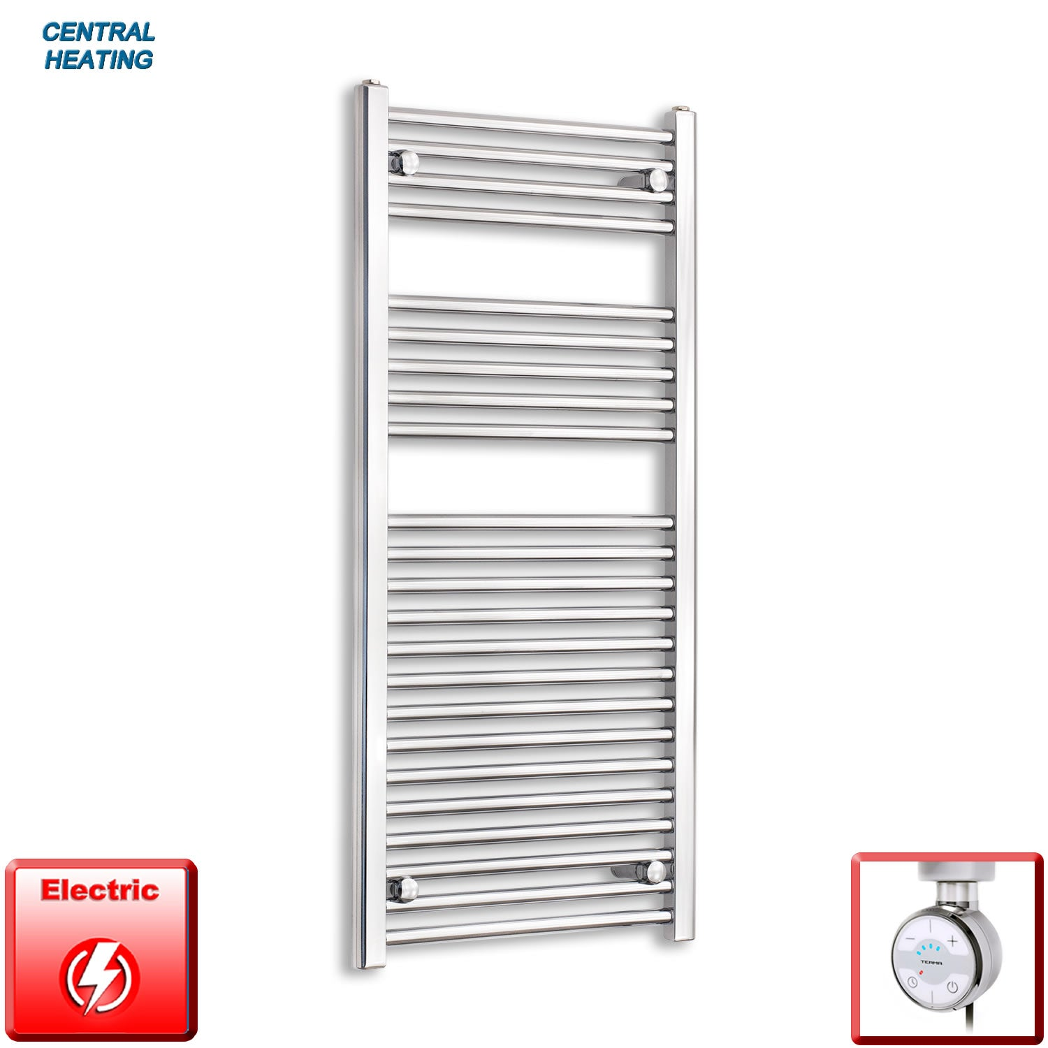 500mm Wide 1100mm High Pre-Filled Black Electric Towel Rail Radiator With Thermostatic MOA Element