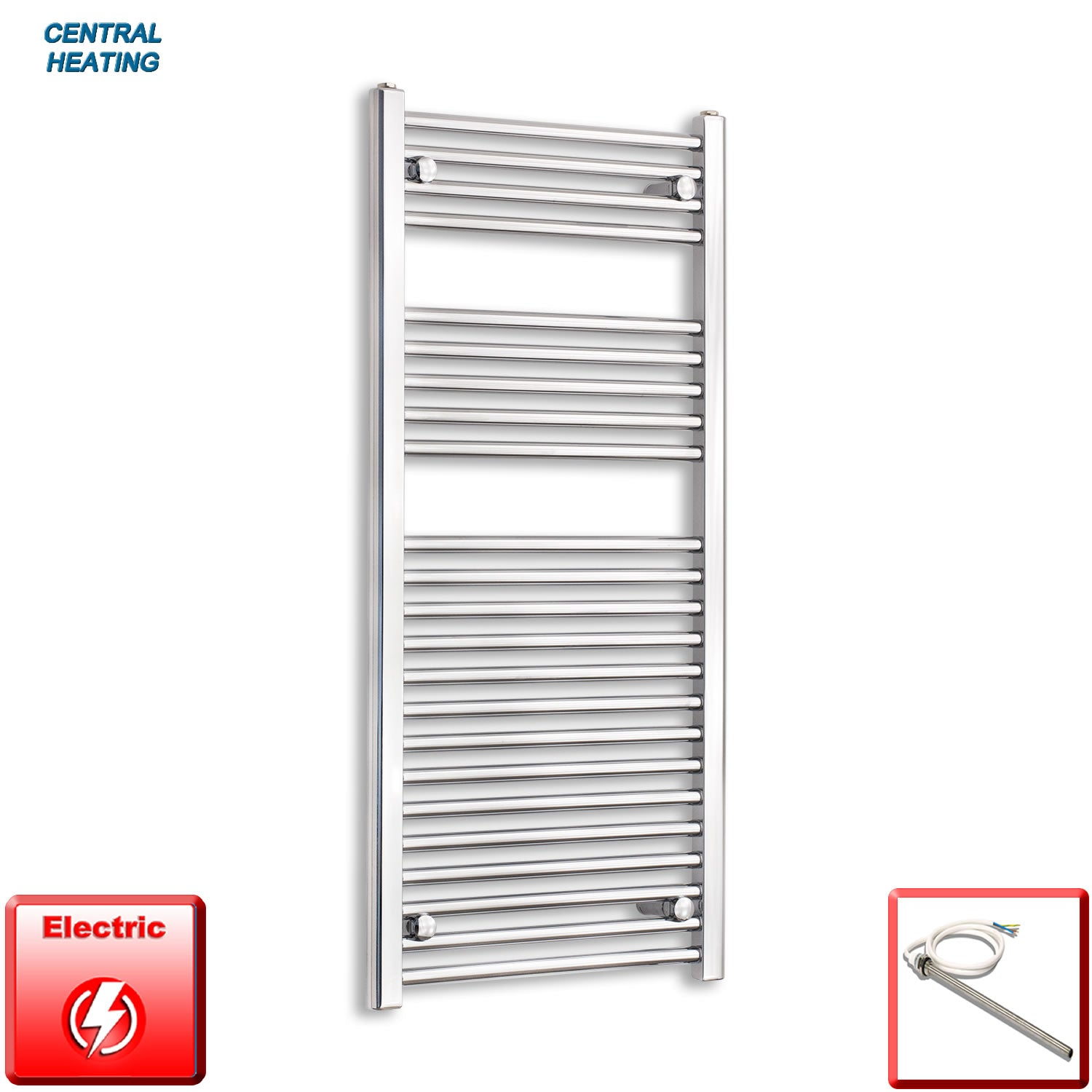 500mm Wide 1100mm High Pre-Filled Black Electric Towel Rail Radiator With Single Heat Element