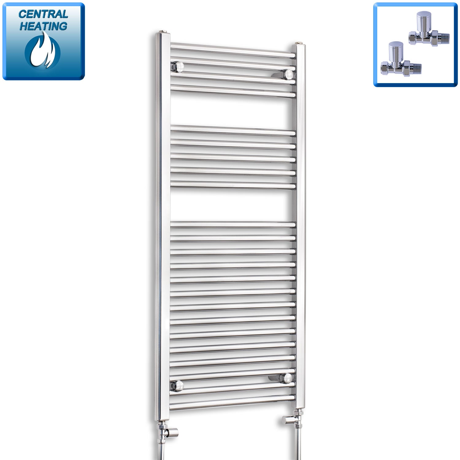 500mm Wide 1100mm High Black Towel Rail Radiator With Straight Valve