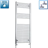500mm Wide 1200mm High Chrome Towel Rail Radiator With Straight Valve