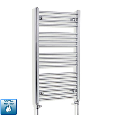 550mm Wide 1000mm High Chrome Towel Rail Radiator With Straight Valve
