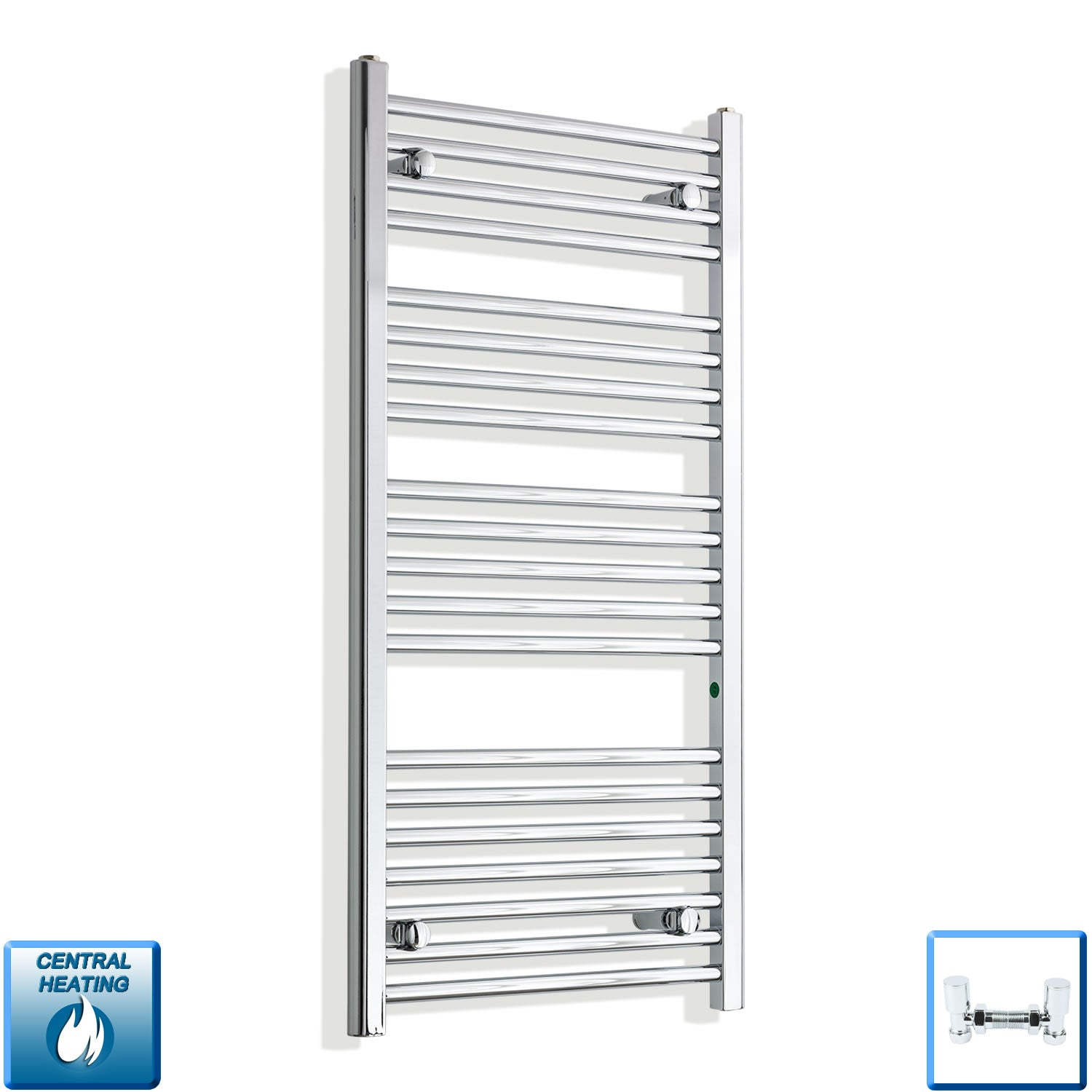 550mm Wide 1100mm High Chrome Towel Rail Radiator With Angled Valve
