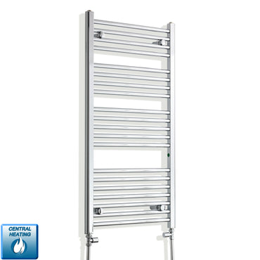 550mm Wide 1100mm High Chrome Towel Rail Radiator With Straight Valve