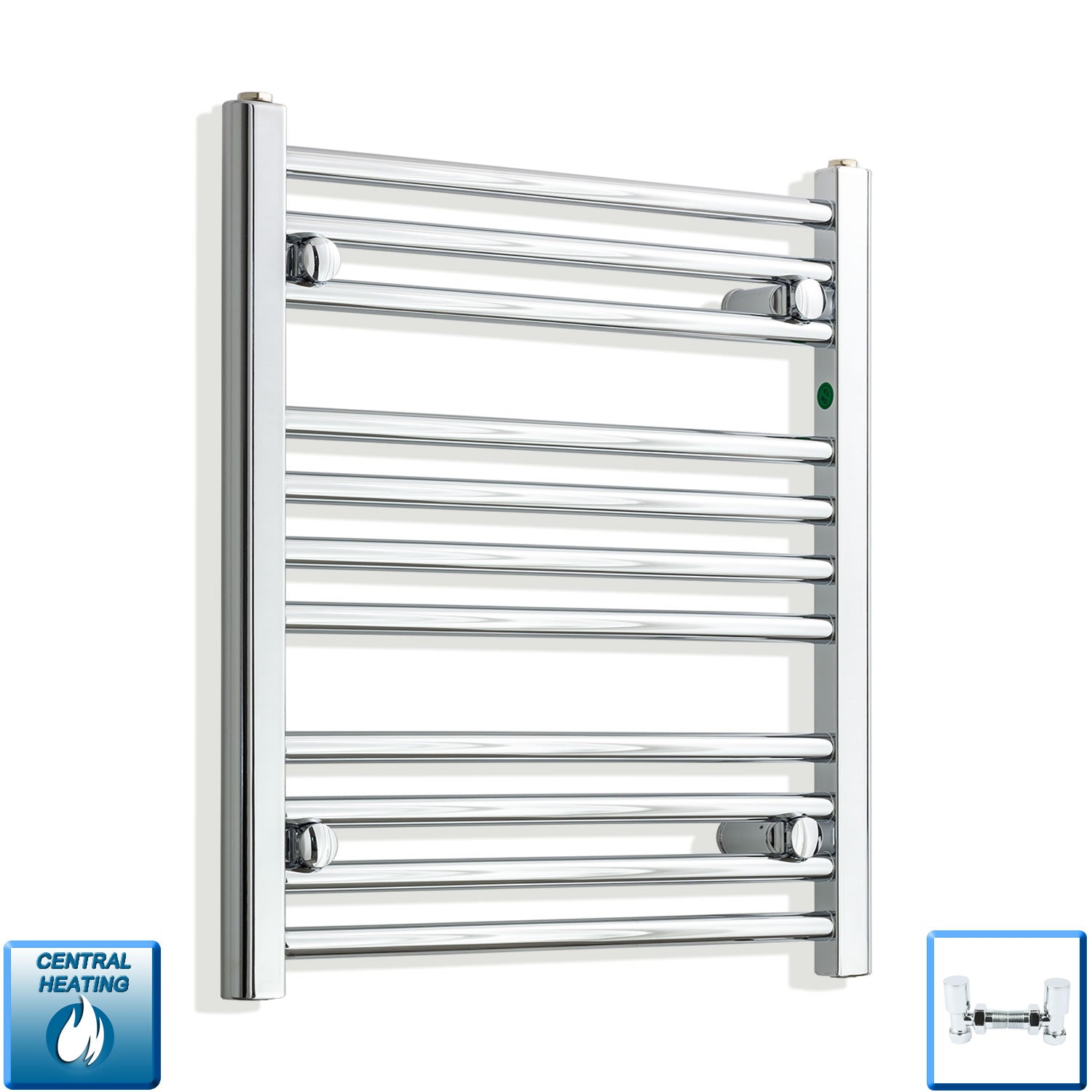 550mm Wide 600mm High Chrome Towel Rail Radiator With Angled Valve