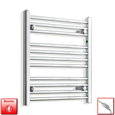 550mm Wide 600mm High Pre-Filled Chrome Electric Towel Rail Radiator With Thermostatic GT Element