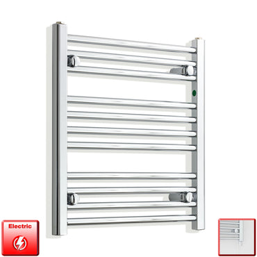550mm Wide 600mm High Pre-Filled Chrome Electric Towel Rail Radiator With Single Heat Element