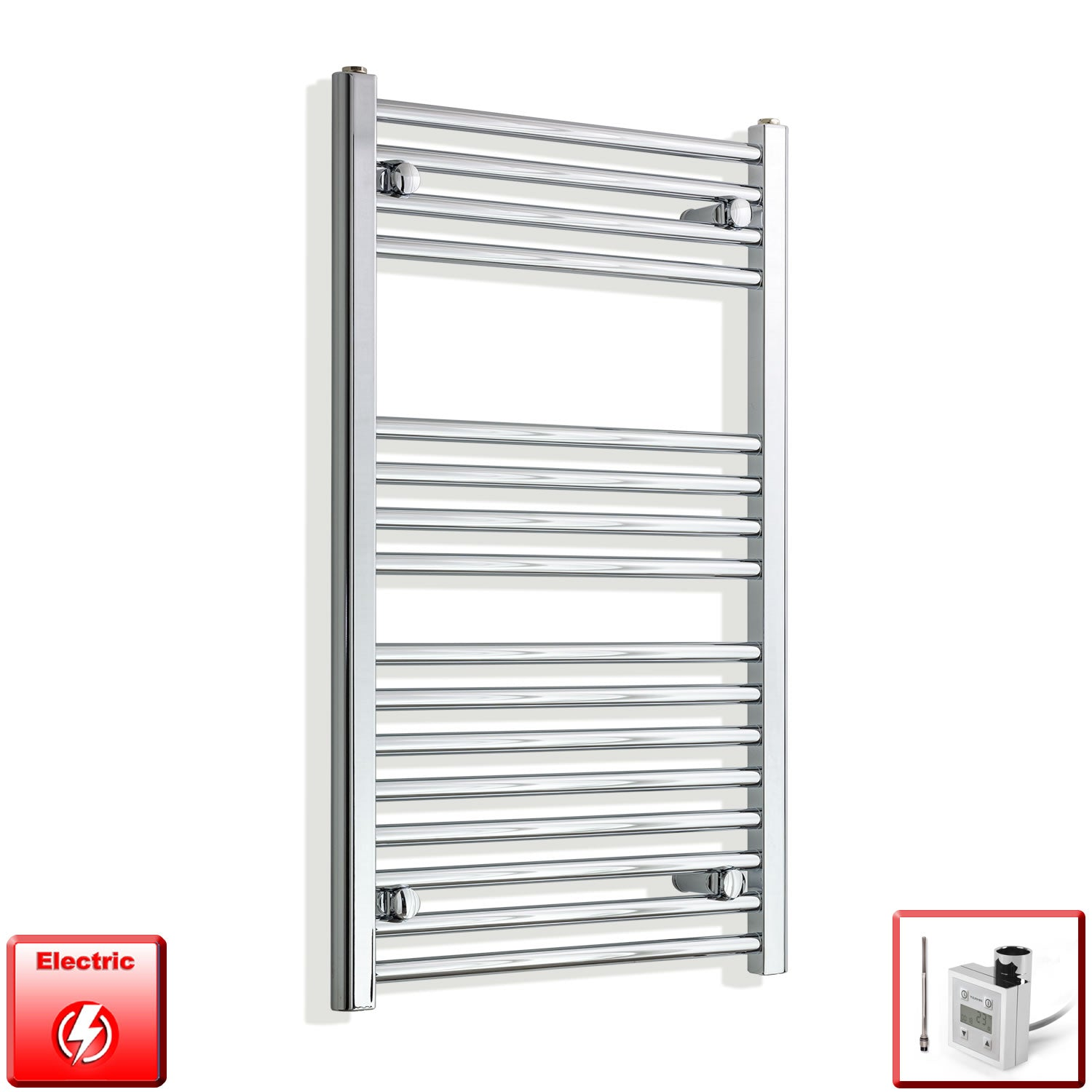 550mm Wide 900mm High Pre-Filled Chrome Electric Towel Rail Radiator With Thermostatic KTX3 Element