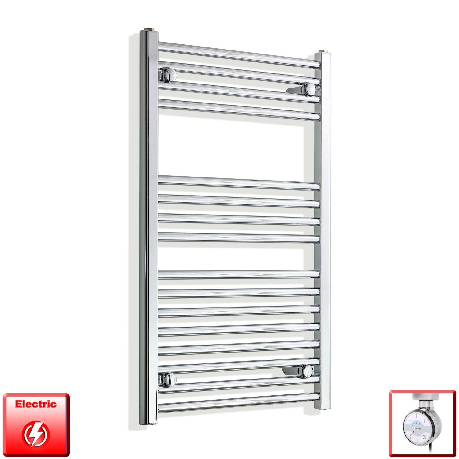 550mm Wide 900mm High Pre-Filled Chrome Electric Towel Rail Radiator With Thermostatic MOA Element