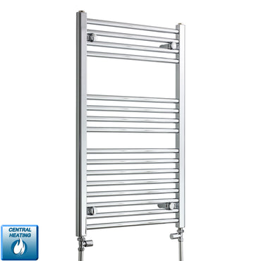 550mm Wide 900mm High Chrome Towel Rail Radiator With Straight Valve