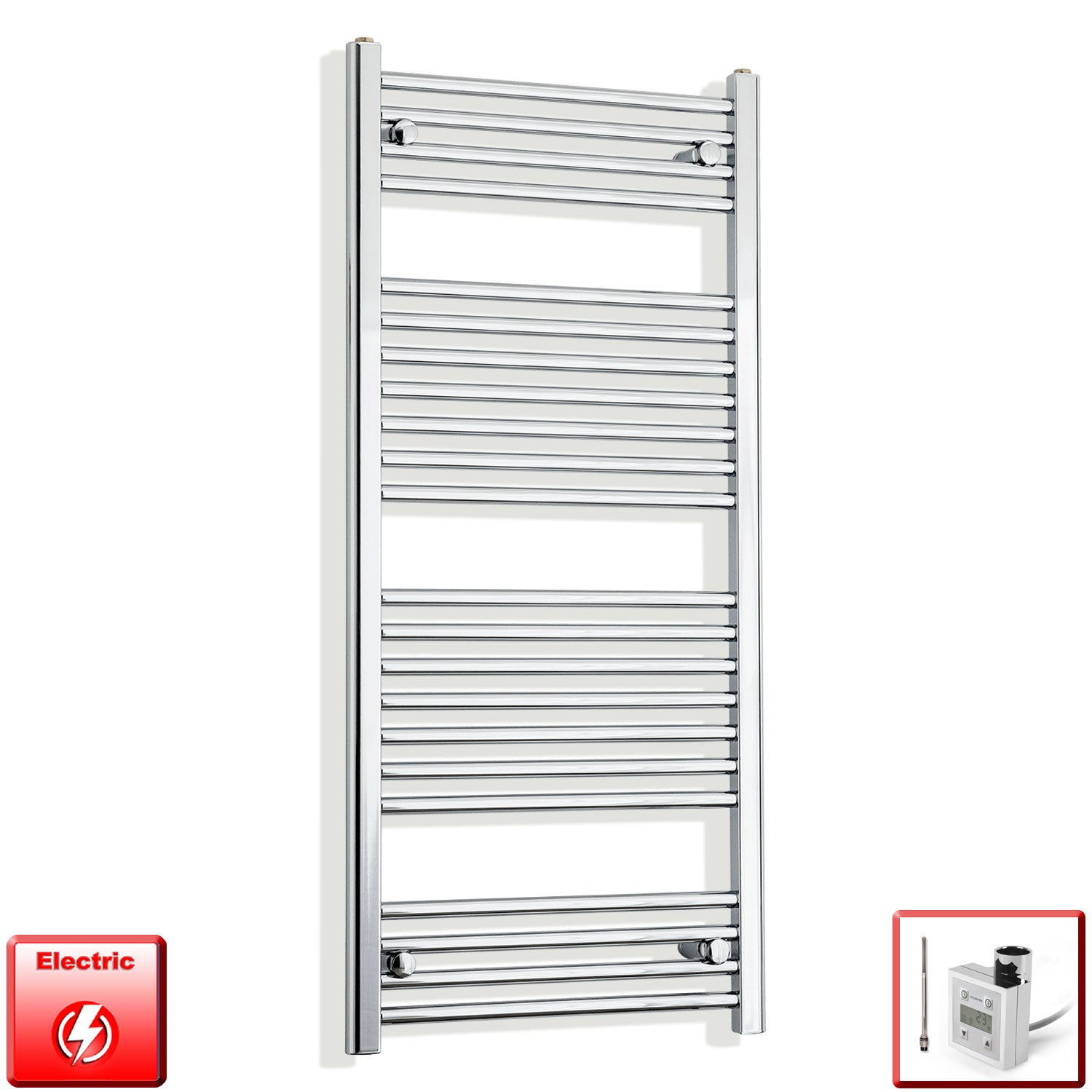600mm Wide 1200mm High Pre-Filled Chrome Electric Towel Rail Radiator With Thermostatic KTX3 Element