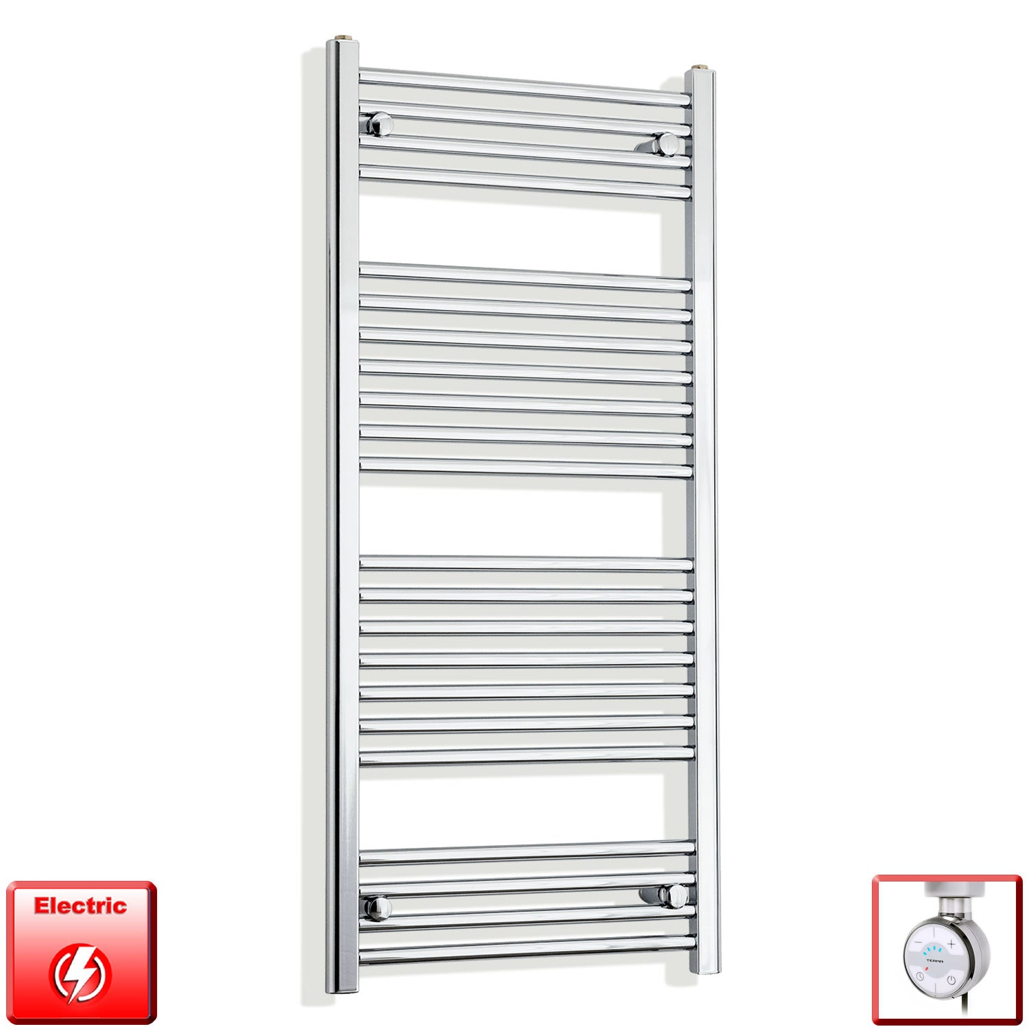 600mm Wide 1200mm High Pre-Filled Chrome Electric Towel Rail Radiator With Thermostatic MOA Element