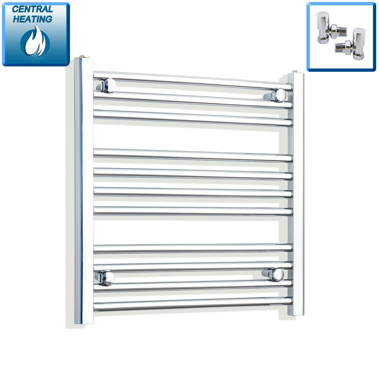 650mm Wide 600mm High Chrome Towel Rail Radiator With Angled Valve