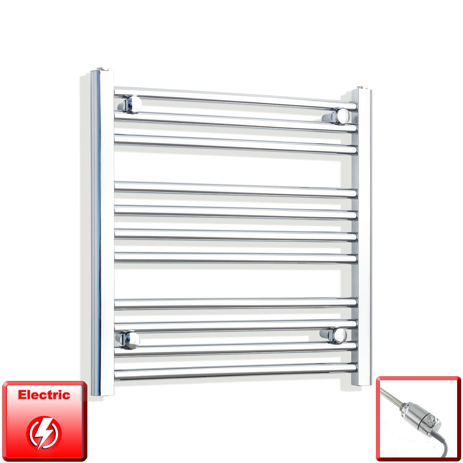 600mm High 650mm Wide Pre-Filled Electric Heated Towel Rail Radiator Straight Chrome
