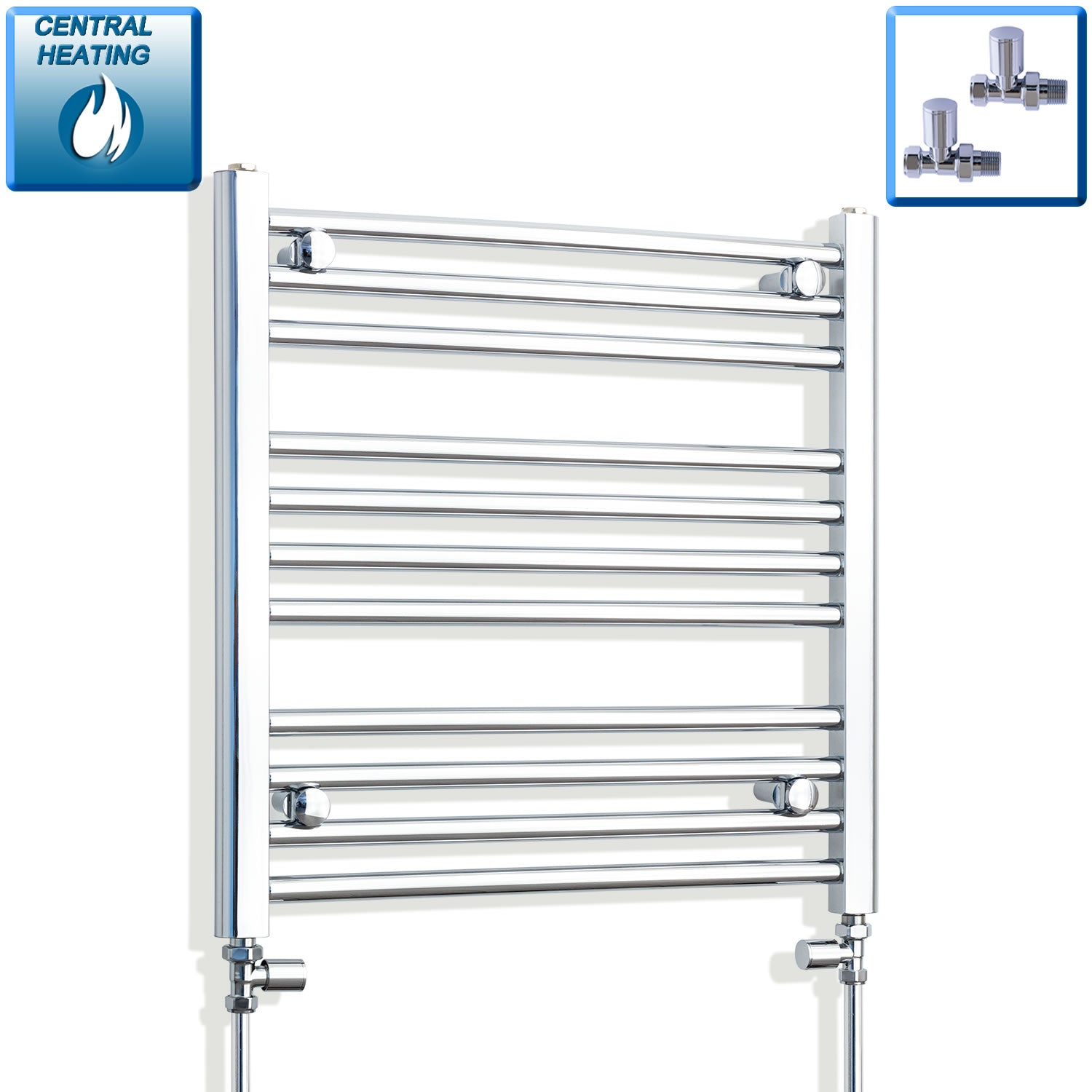 650mm Wide 600mm High Chrome Towel Rail Radiator With Straight Valve