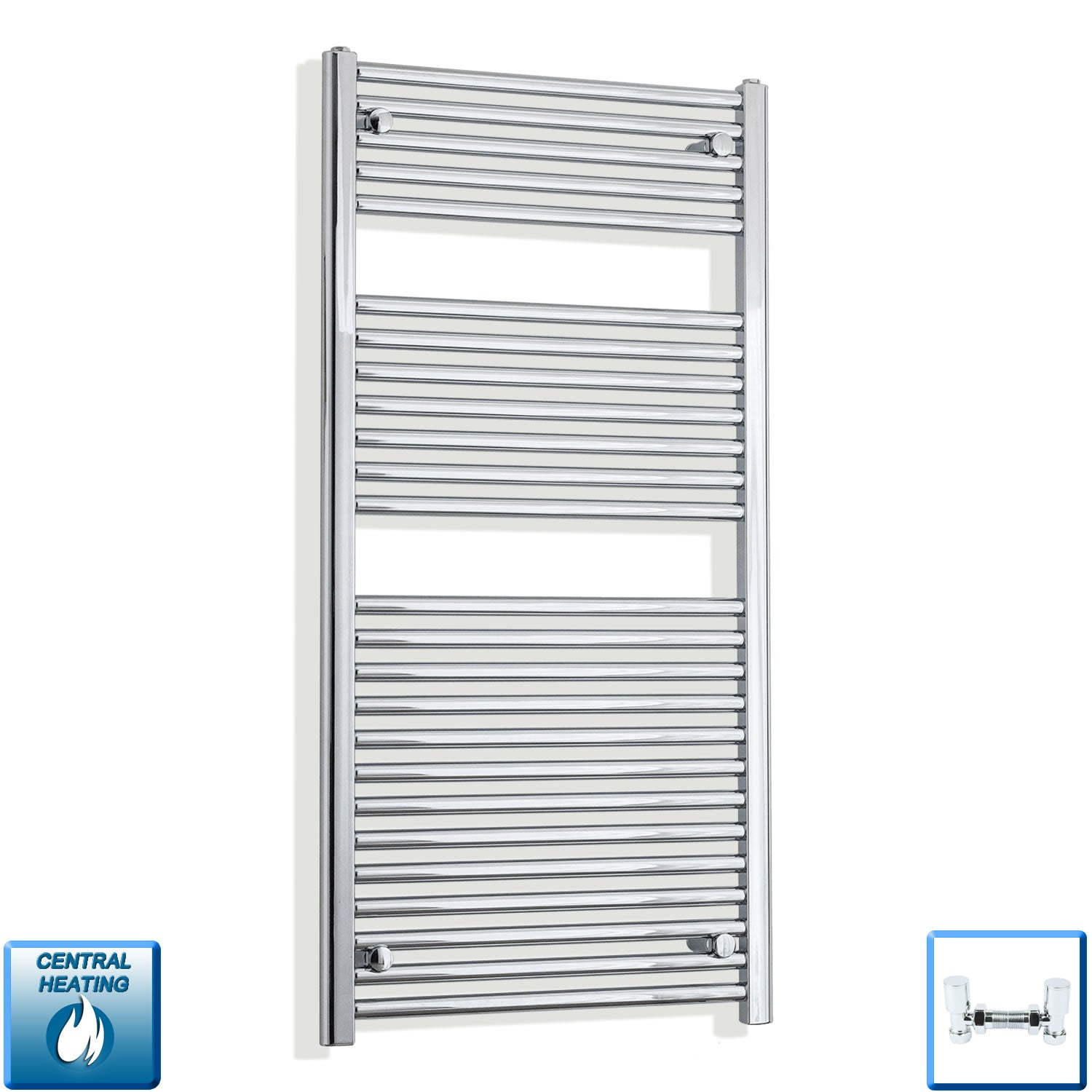600mm Wide 1200mm High Chrome Towel Rail Radiator With Angled Valve