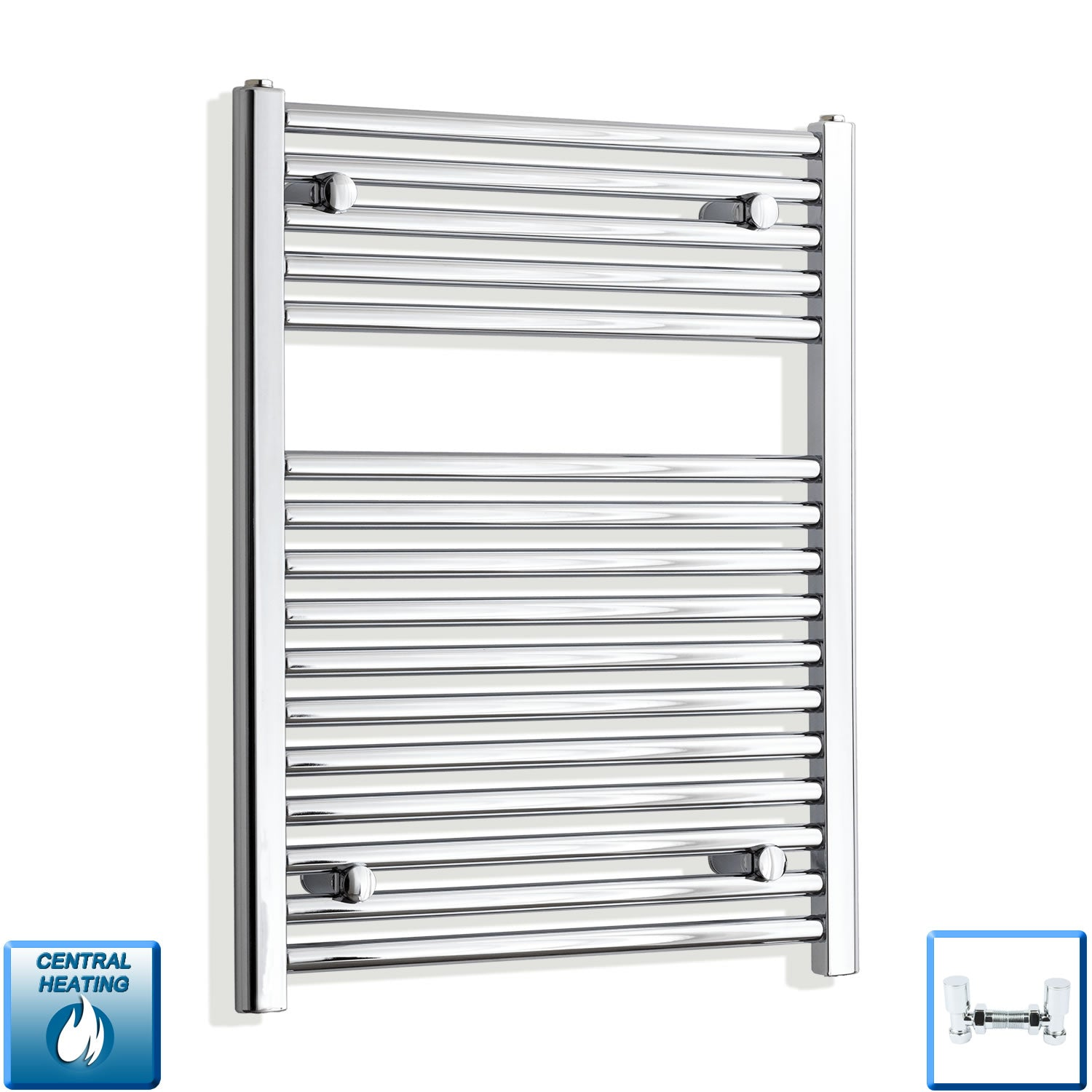 500mm Wide 750mm High Chrome Towel Rail Radiator With Angled Valve