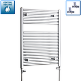 500mm Wide 750mm High Chrome Towel Rail Radiator With Straight Valve