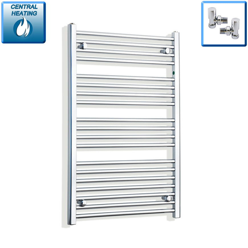 700mm Wide 1000mm High Chrome Towel Rail Radiator With Angled Valve
