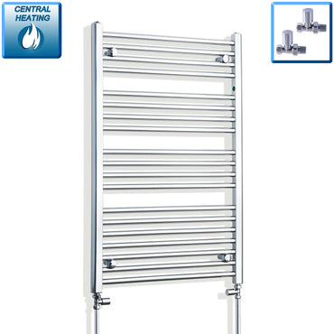 650mm Wide 1000mm High Chrome Towel Rail Radiator With Straight Valve