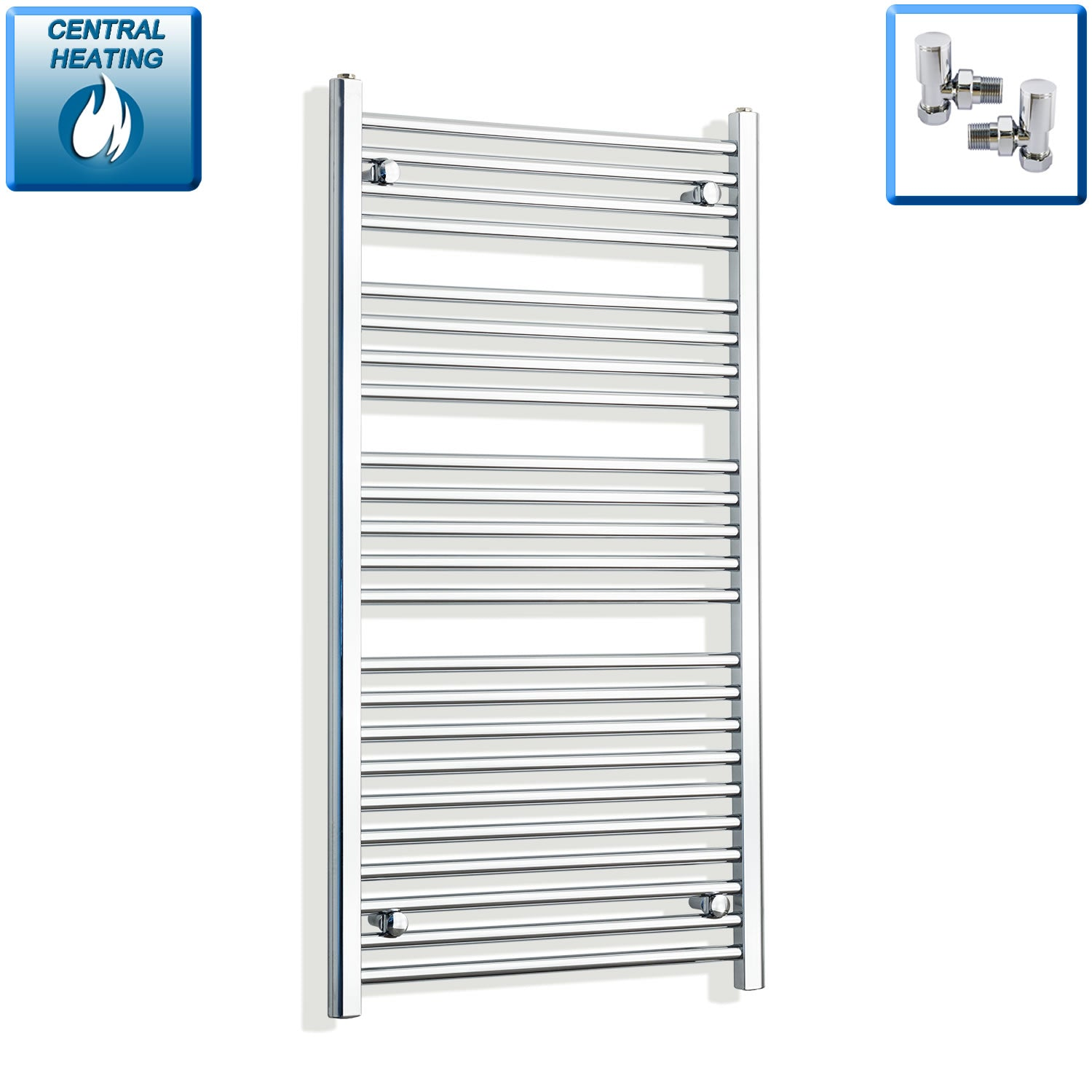 700mm Wide 1200mm High Chrome Towel Rail Radiator With Angled Valve