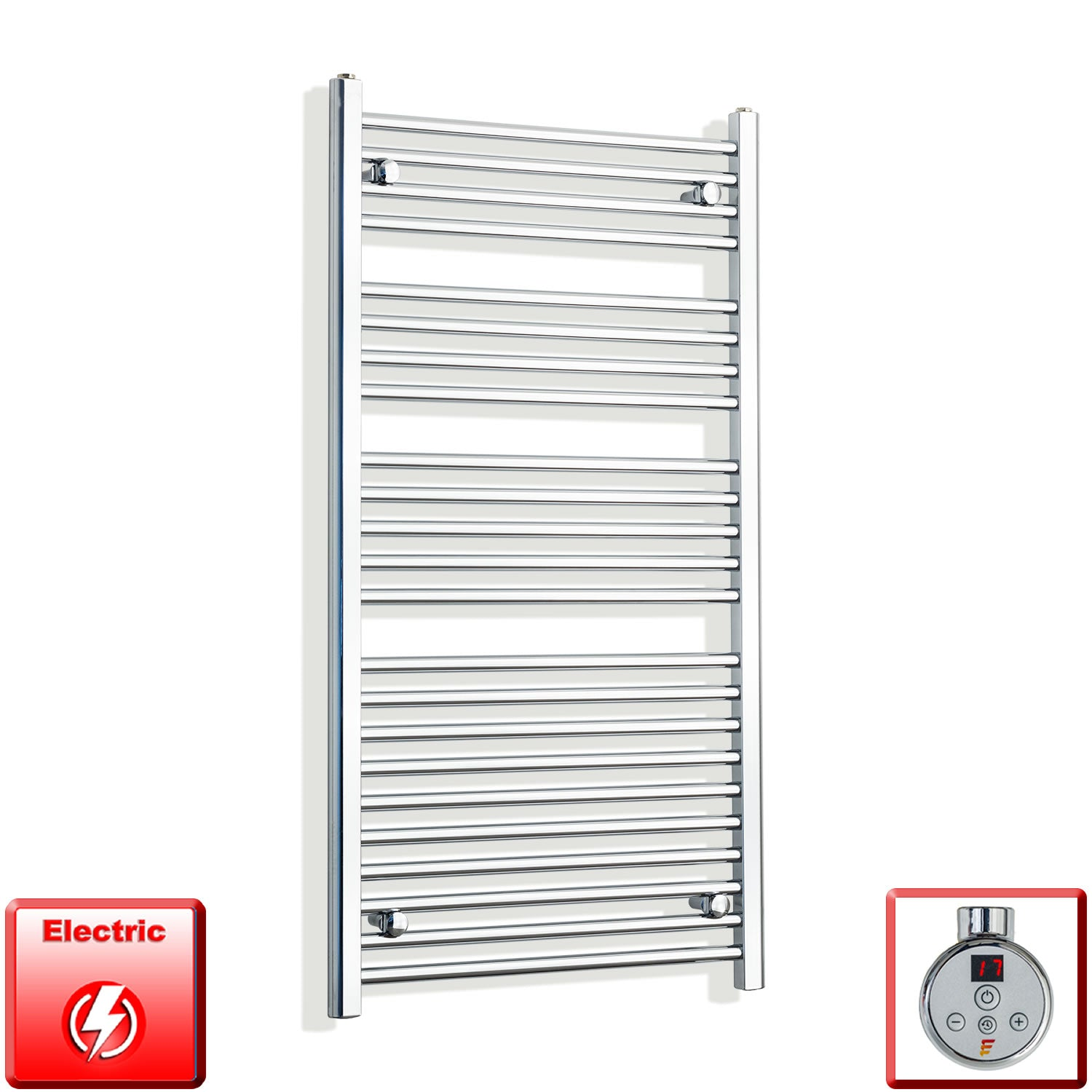 700mm Wide 1200mm High Pre-Filled Chrome Electric Towel Rail Radiator With Thermostatic DIGI Element
