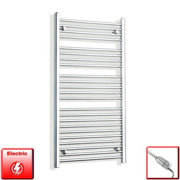 700mm Wide 1200mm High Pre-Filled Chrome Electric Towel Rail Radiator With Thermostatic GT Element