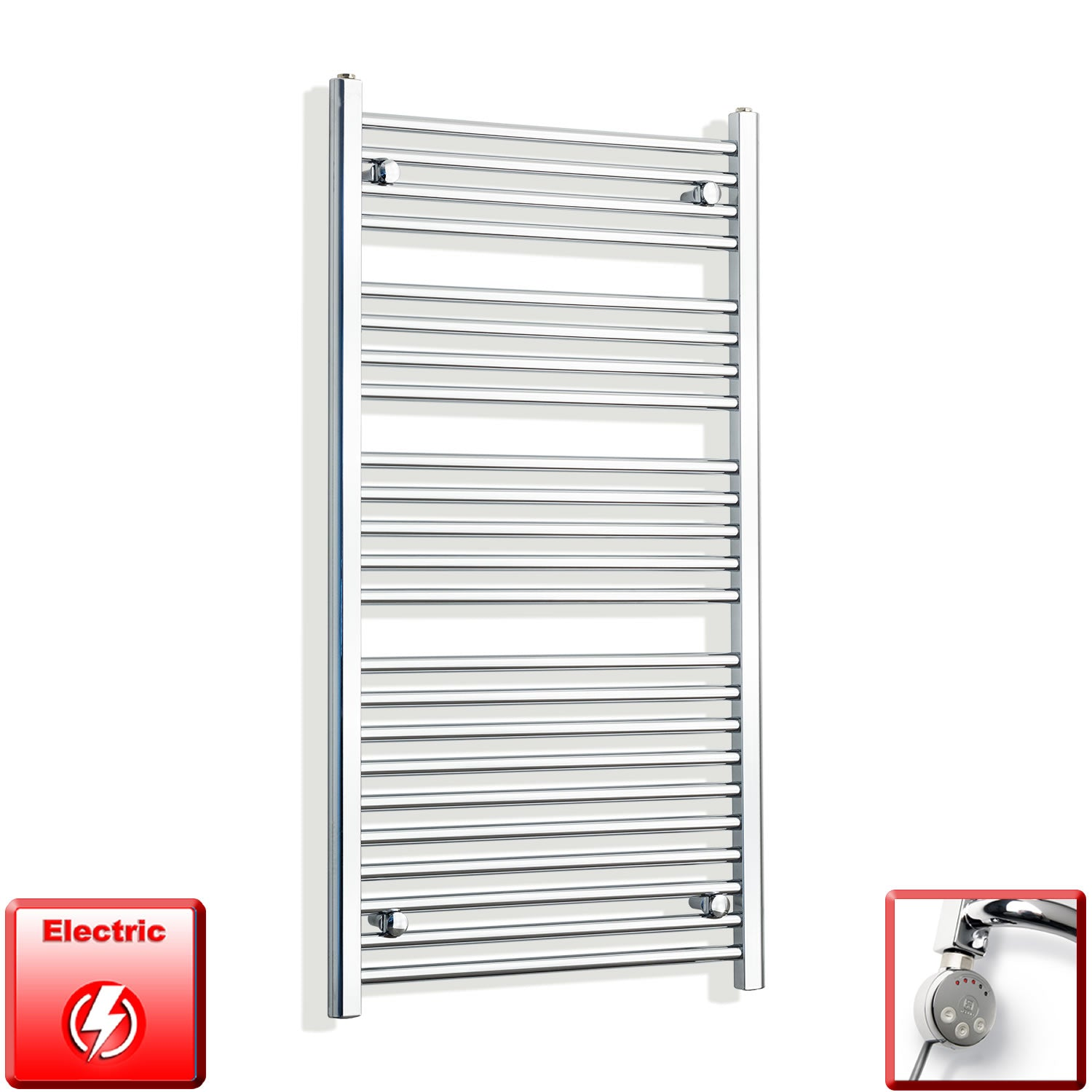 700mm Wide 1200mm High Pre-Filled Chrome Electric Towel Rail Radiator With Thermostatic MEG Element