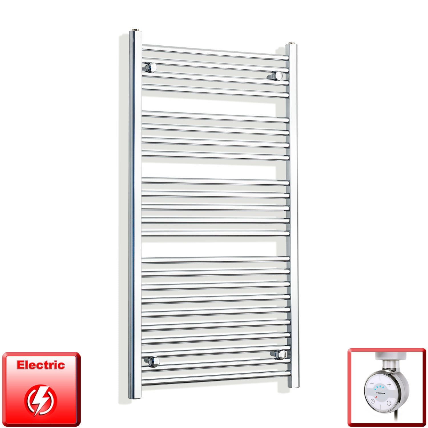 700mm Wide 1200mm High Pre-Filled Chrome Electric Towel Rail Radiator With Thermostatic MOA Element