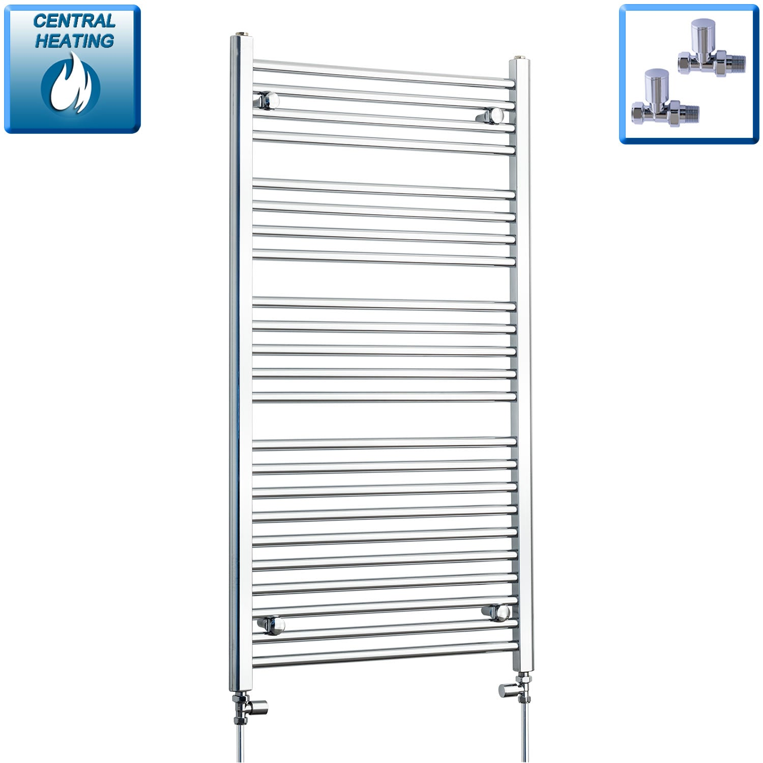 650mm Wide 1200mm High Chrome Towel Rail Radiator With Straight Valve