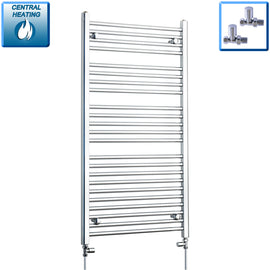 700mm Wide 1200mm High Chrome Towel Rail Radiator With Straight Valve