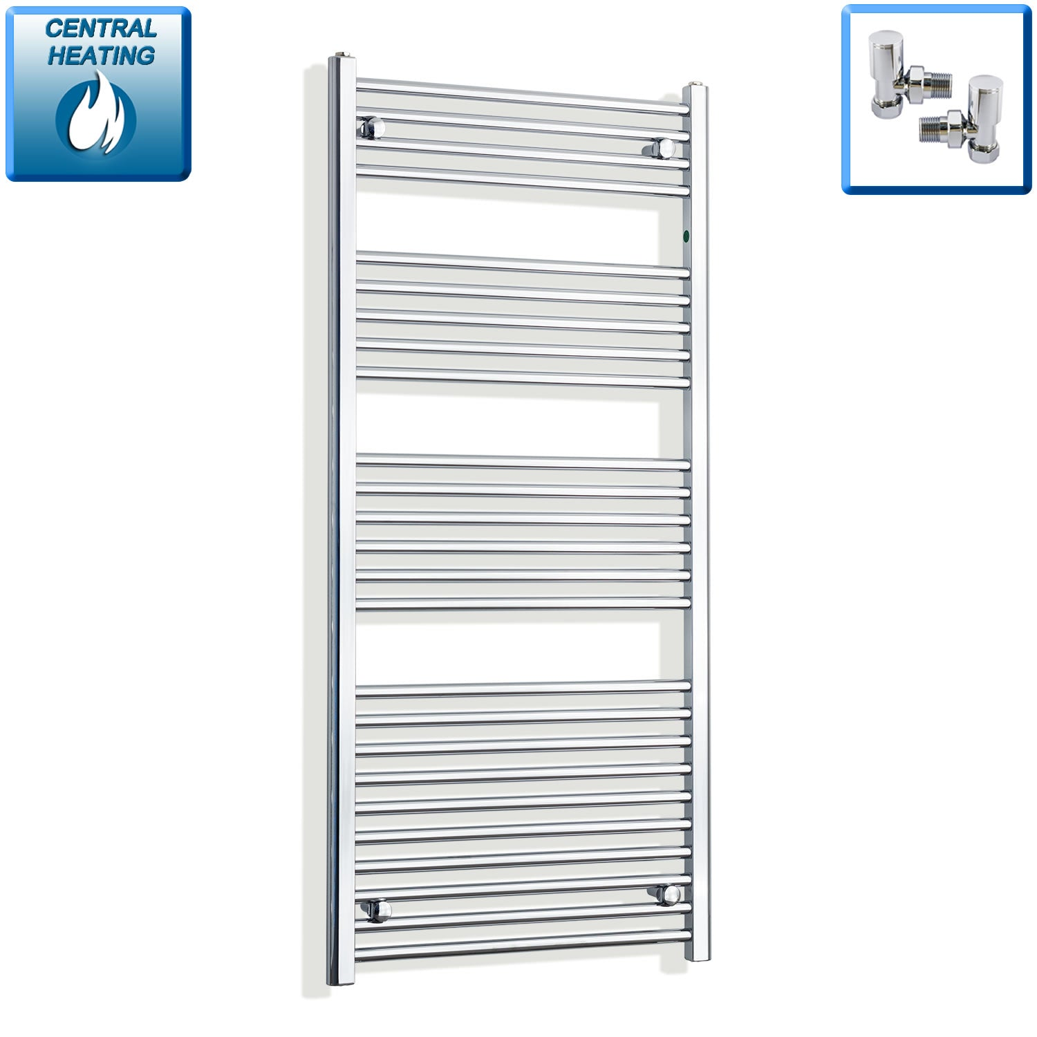 650mm Wide 1400mm High Chrome Towel Rail Radiator With Angled Valve