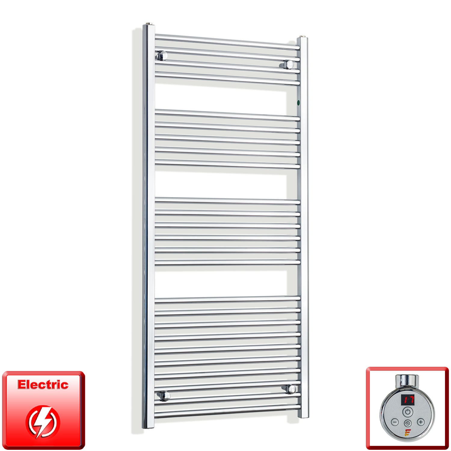 650mm Wide 1400mm High Pre-Filled Chrome Electric Towel Rail Radiator With Thermostatic DIGI Element