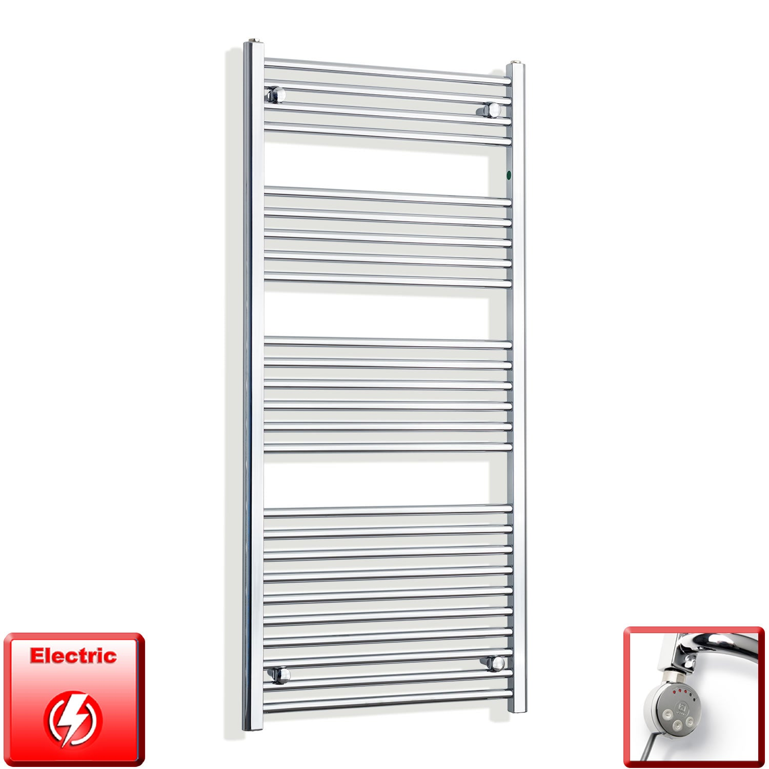 650mm Wide 1400mm High Pre-Filled Chrome Electric Towel Rail Radiator With Thermostatic MEG Element