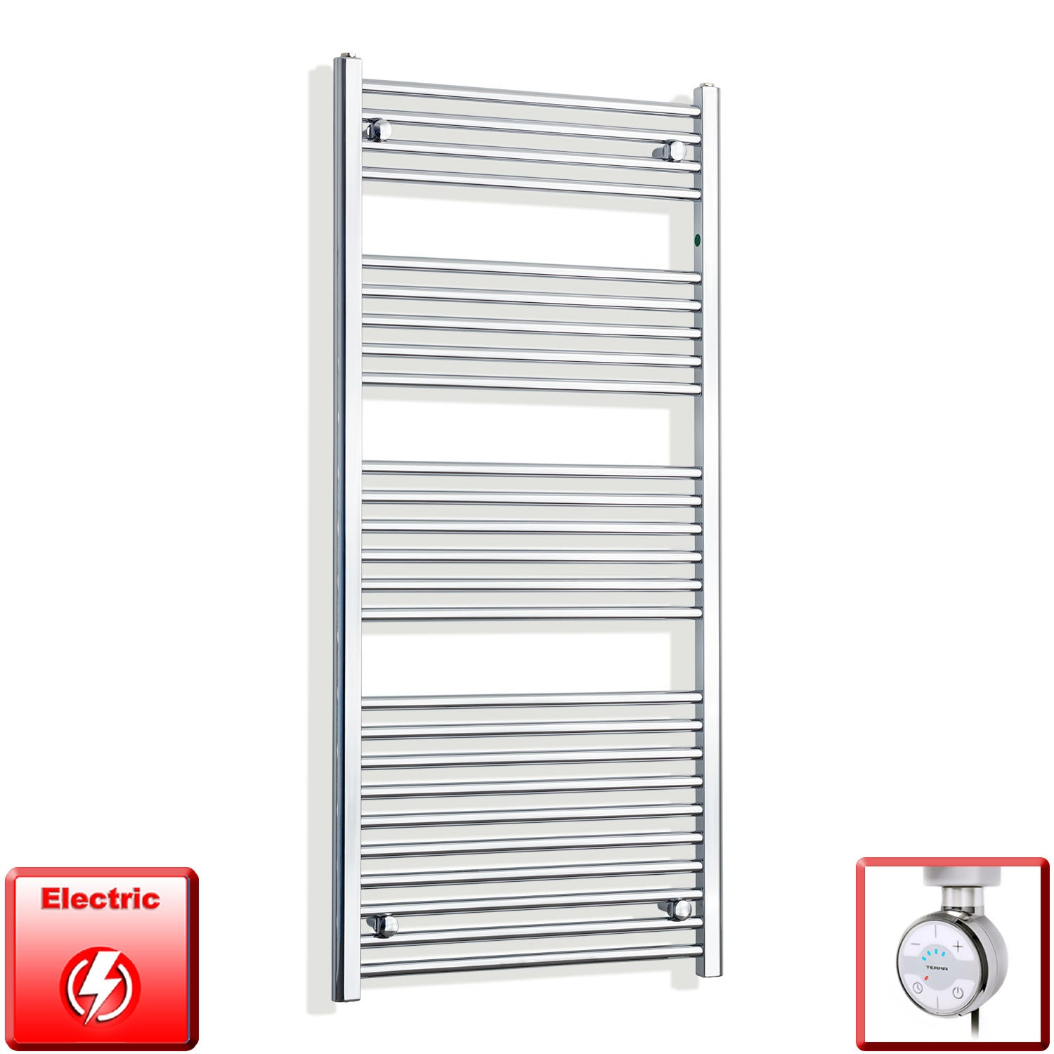 650mm Wide 1400mm High Pre-Filled Chrome Electric Towel Rail Radiator With Thermostatic MOA Element