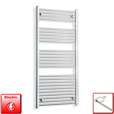 650mm Wide 1400mm High Pre-Filled Chrome Electric Towel Rail Radiator With Single Heat Element