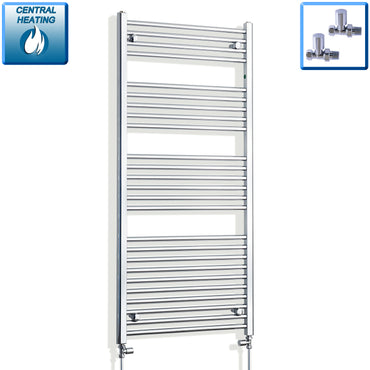650mm Wide 1400mm High Chrome Towel Rail Radiator With Straight Valve