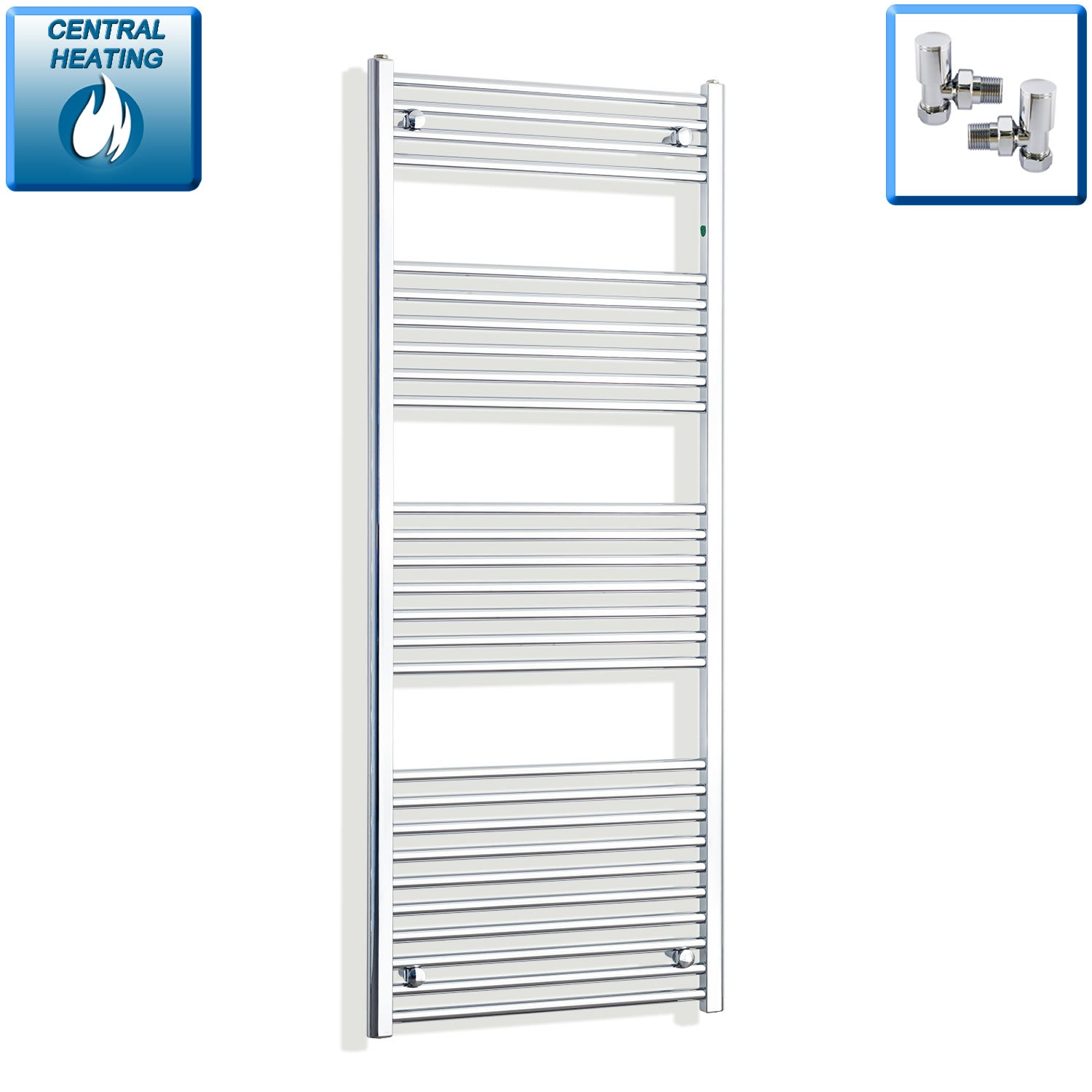 500mm Wide 1600mm High Chrome Towel Rail Radiator With Angled Valve