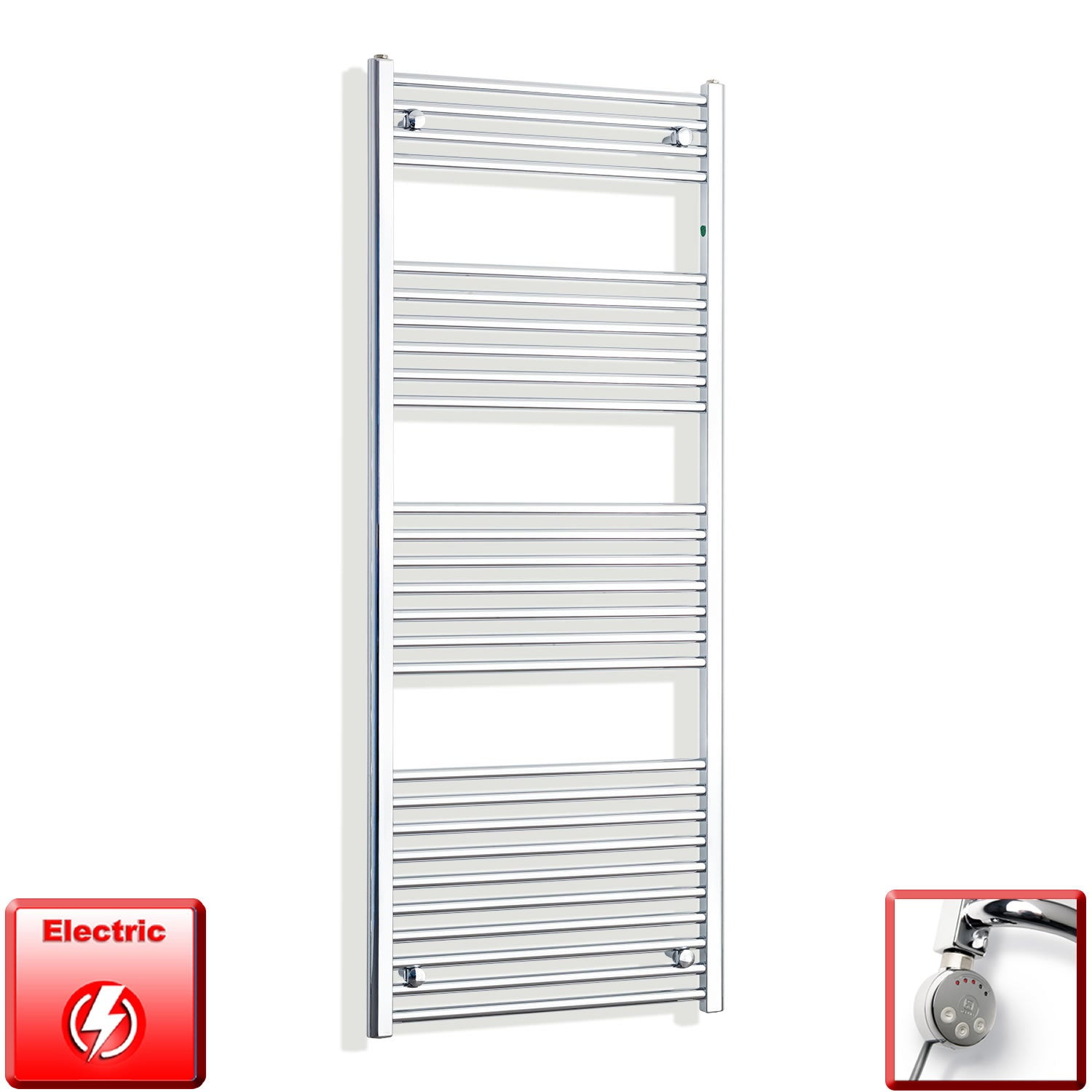 650mm Wide 1600mm High Pre-Filled Chrome Electric Towel Rail Radiator With Thermostatic MEG Element