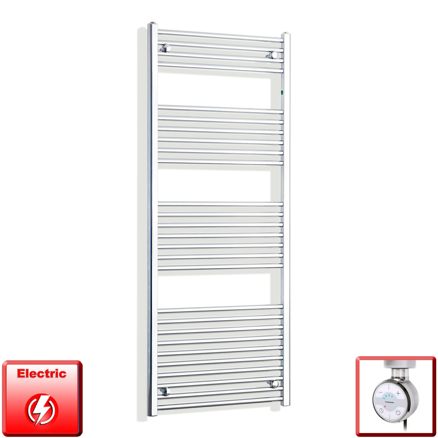 600mm Wide 1600mm High Pre-Filled Chrome Electric Towel Rail Radiator With Thermostatic MOA Element
