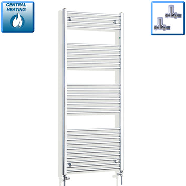 500mm Wide 1600mm High Chrome Towel Rail Radiator With Straight Valve