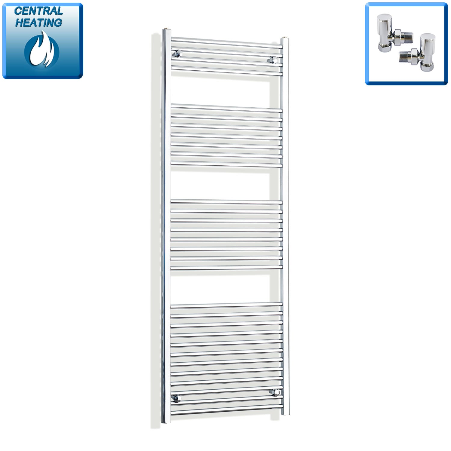 650mm Wide 1800mm High Chrome Towel Rail Radiator With Angled Valve
