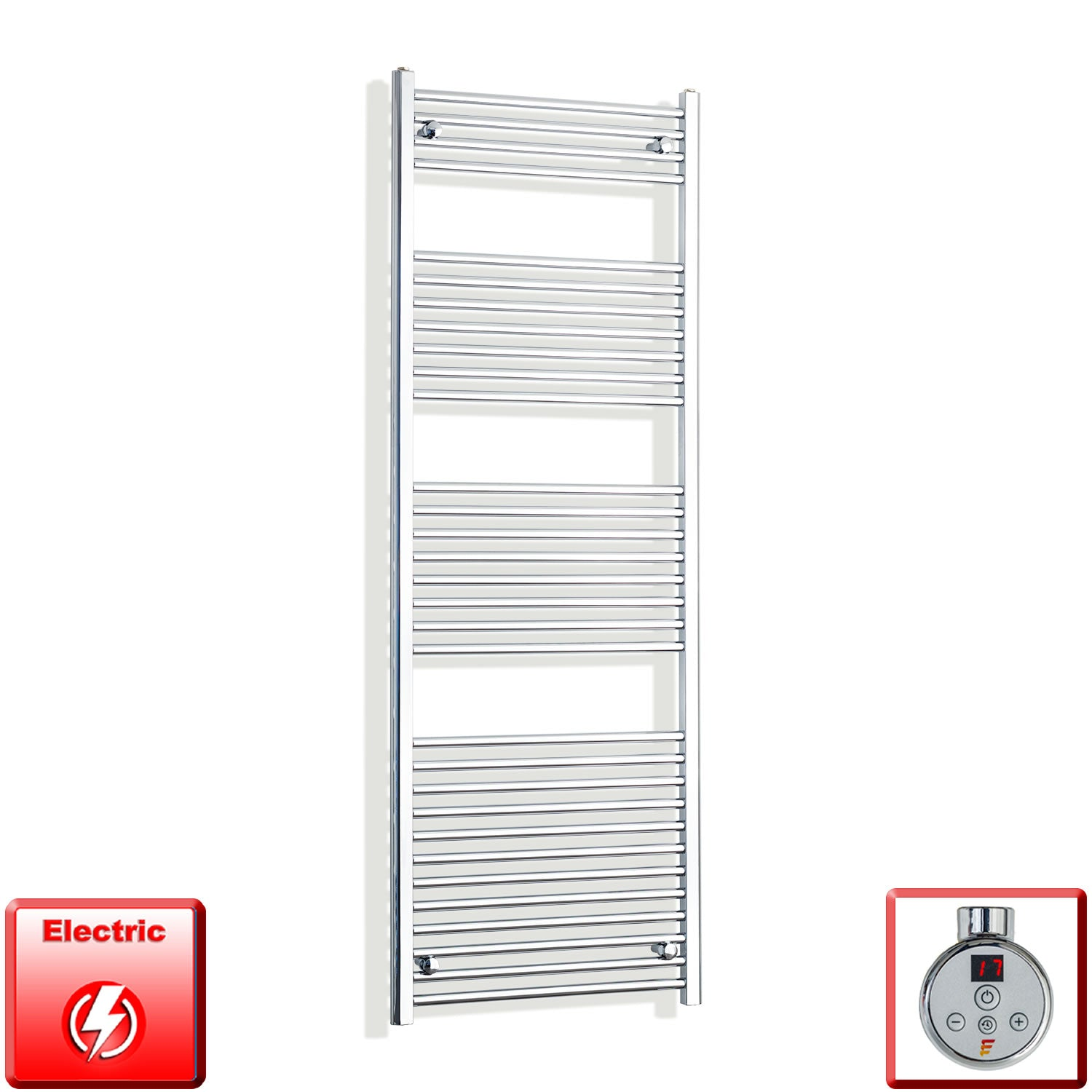 650mm Wide 1800mm High Pre-Filled Chrome Electric Towel Rail Radiator With Thermostatic DIGI Element