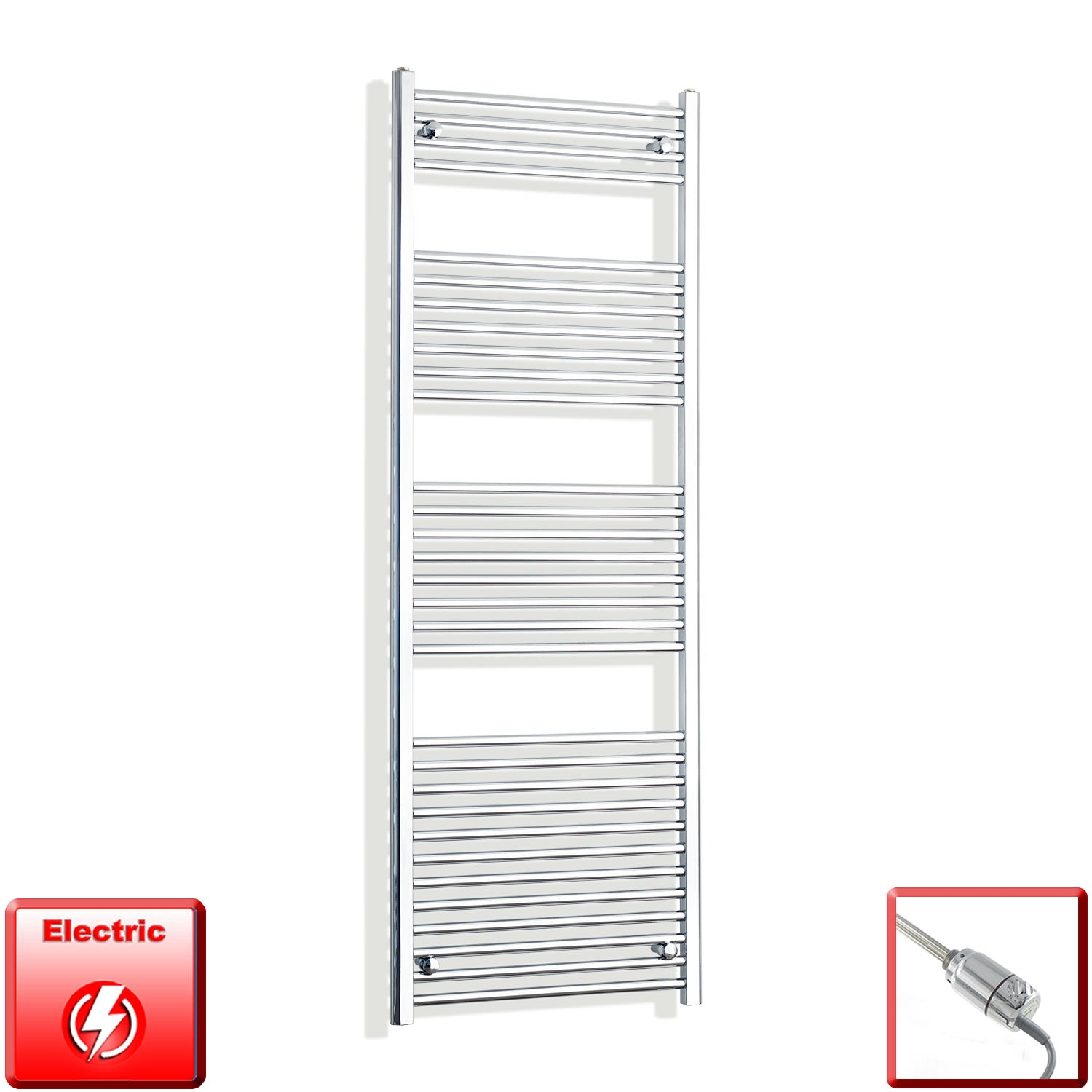 650mm Wide 1800mm High Pre-Filled Chrome Electric Towel Rail Radiator With Thermostatic GT Element