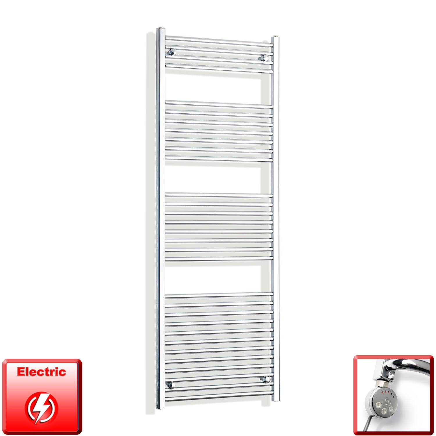 650mm Wide 1800mm High Pre-Filled Chrome Electric Towel Rail Radiator With Thermostatic MEG Element