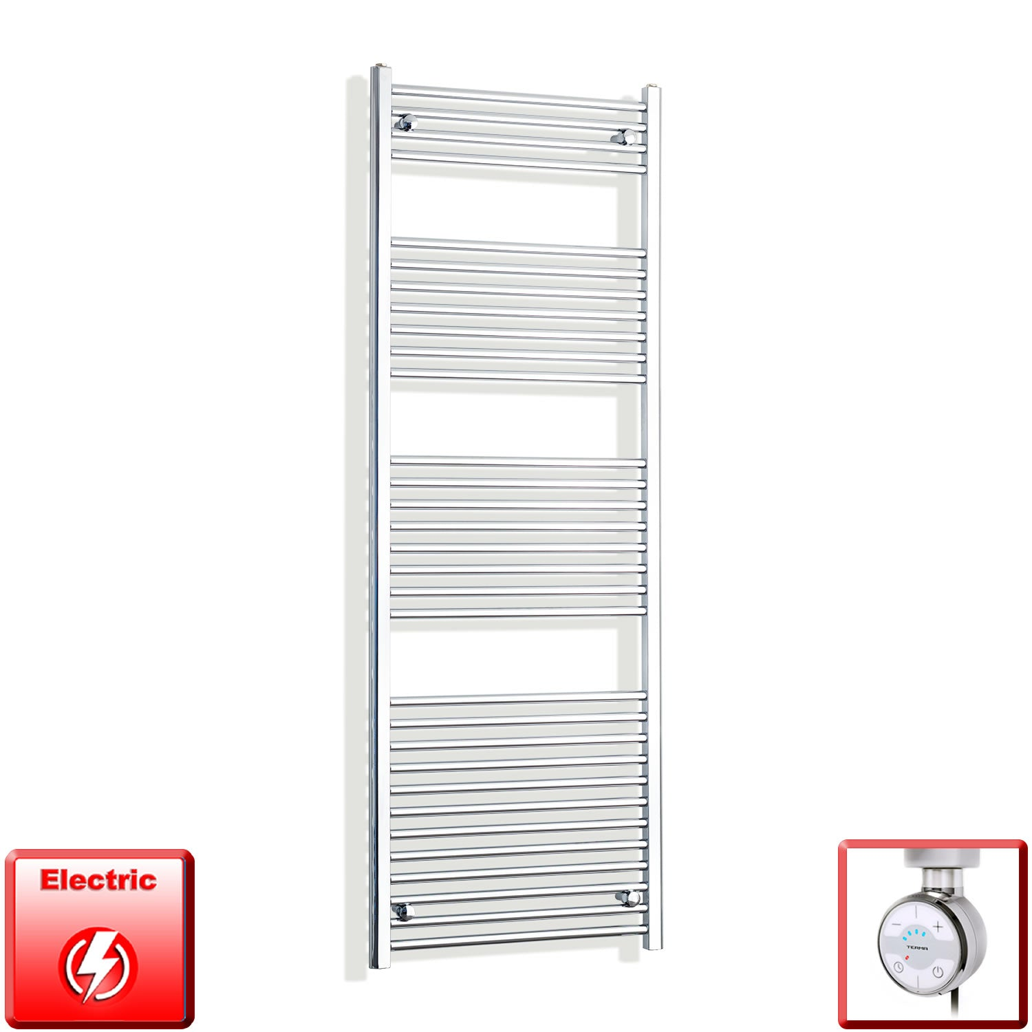 650mm Wide 1800mm High Pre-Filled Chrome Electric Towel Rail Radiator With Thermostatic MOA Element