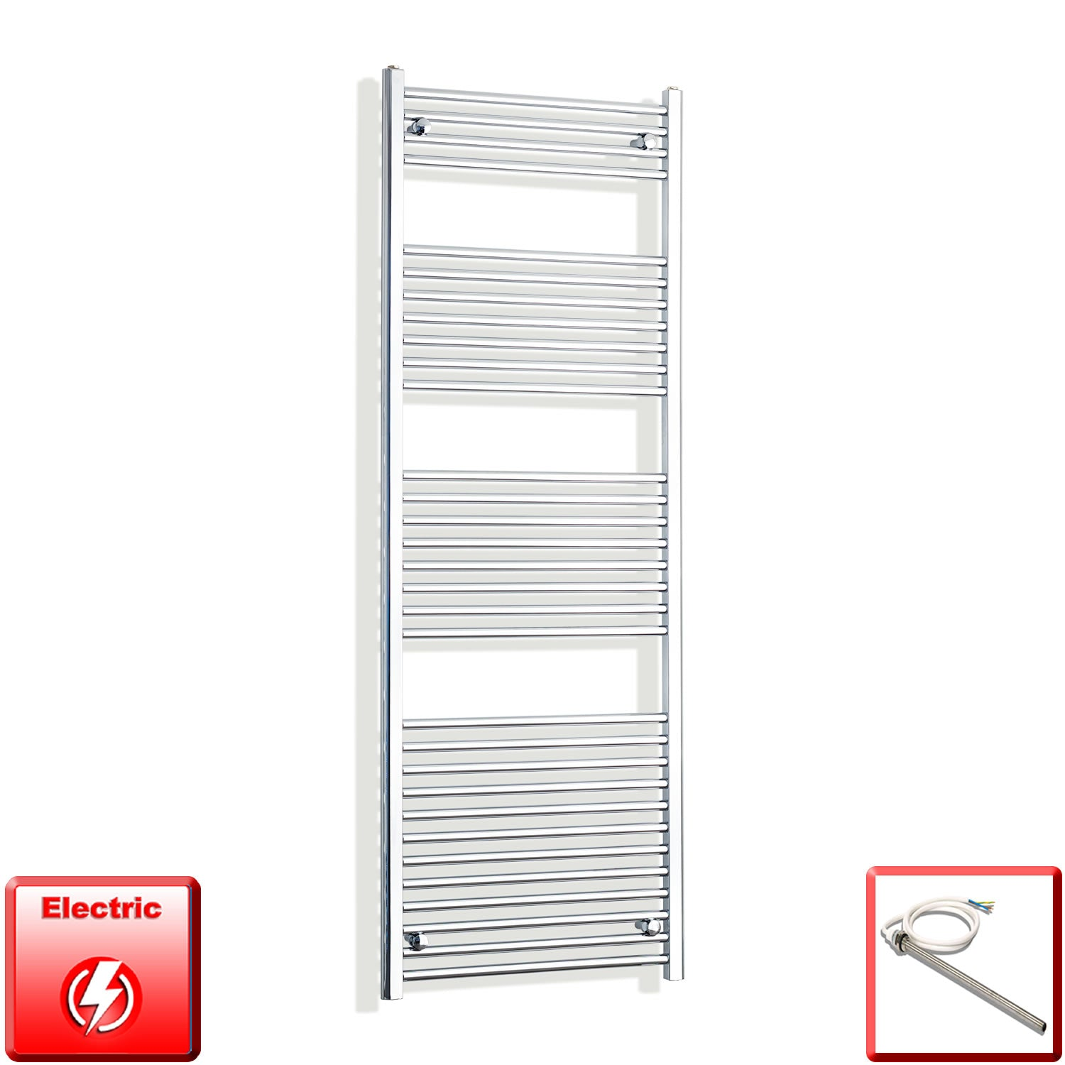 650mm Wide 1800mm High Pre-Filled Chrome Electric Towel Rail Radiator With Single Heat Element