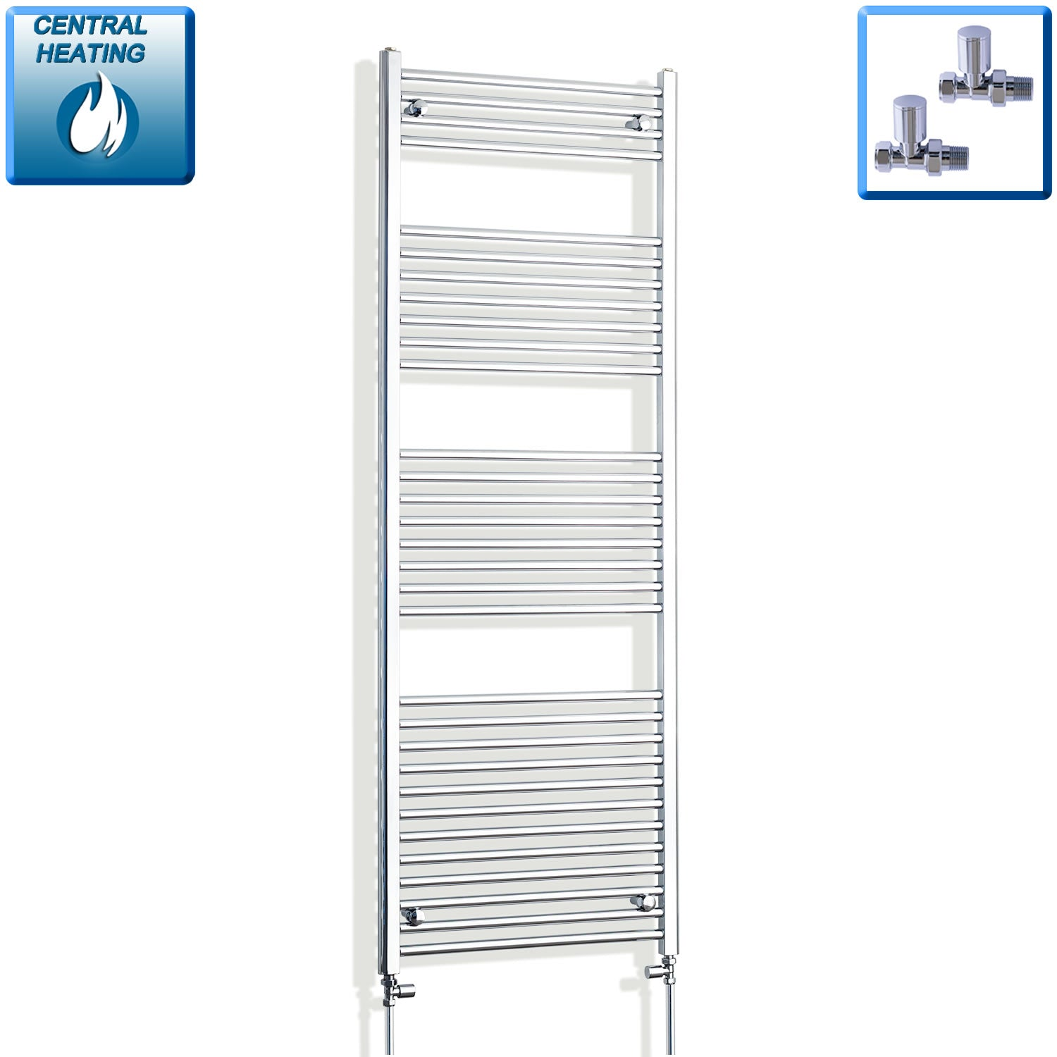 750mm Wide 1800mm High Chrome Towel Rail Radiator With Straight Valve